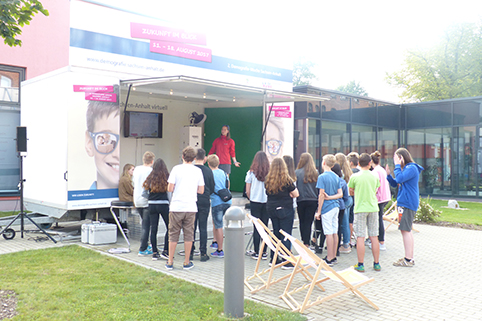 Roadshow-Station in der Sekundarschule A.S. Puschkin in Oschersleben